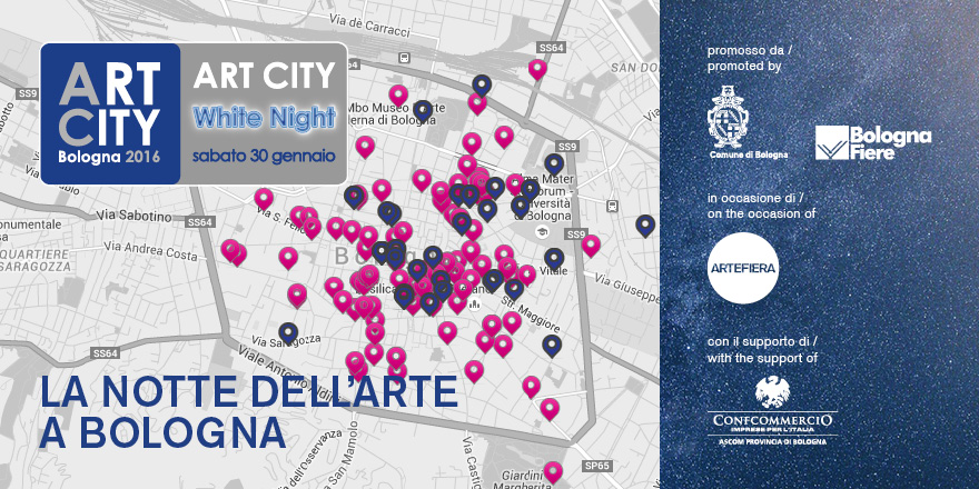mappa art white city night bologna