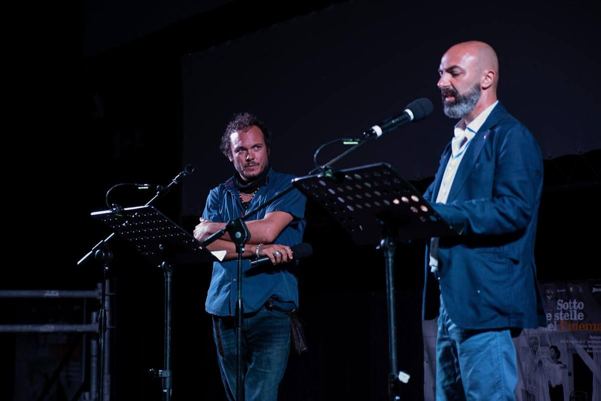 Fulvio Bugani e Fabio Bucciarelli in Piazza Maggiore