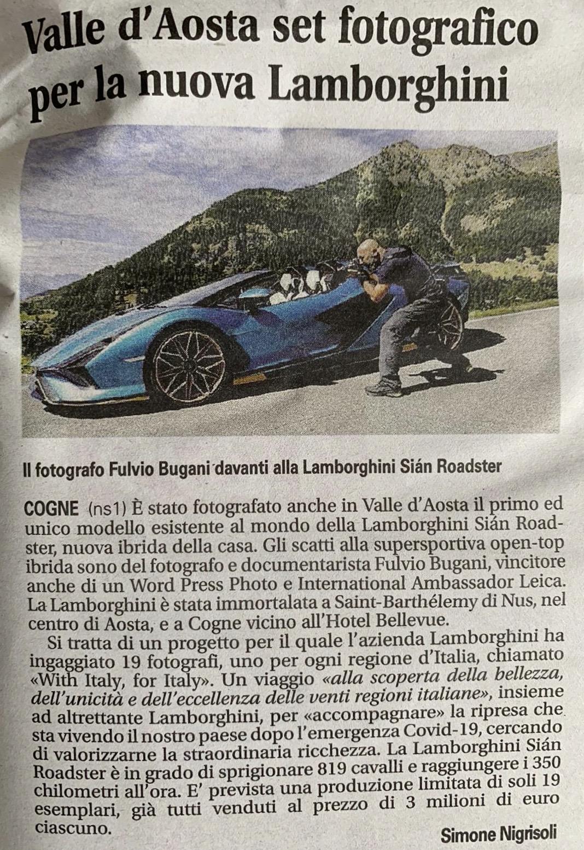 giornale Bugani per Lamborghini